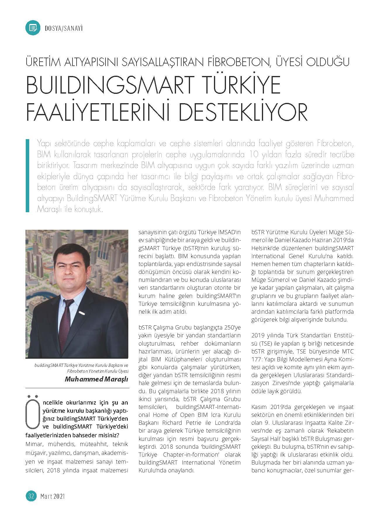 Yapı Magazin Dergisi Mart ayı sayısında Yönetim Kurulu Üyemiz Muhammed Maraşlı yer aldı