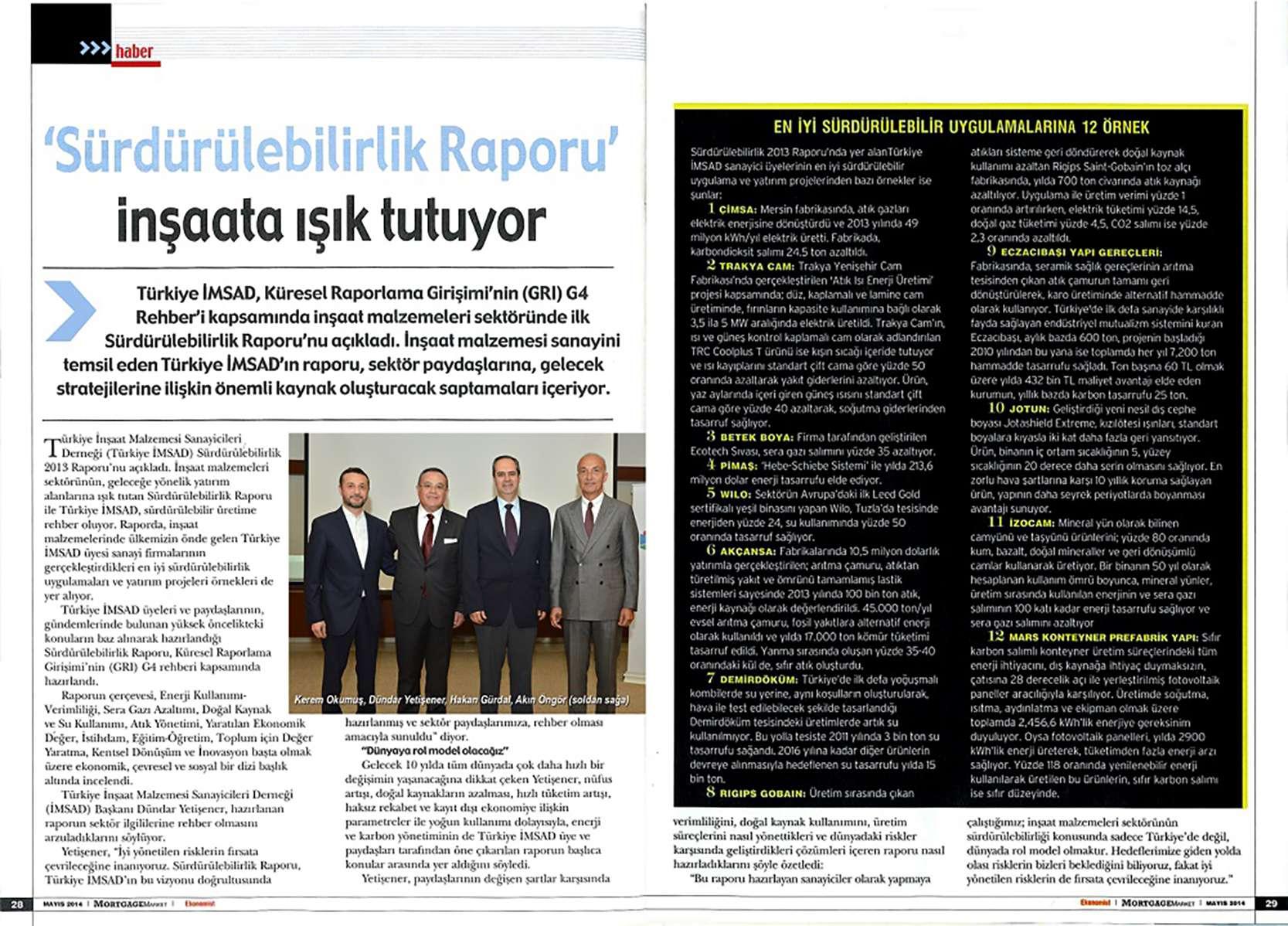 """Fibrobeton ürkiye İMSAD Tarafından Yayınlanan """"Sürdürülebilirlik Raporu 2013"""", Ile Ilgili Ekonomist Dergisinin Bu Haftaki Sayısında Yayınlanan Haberi"""