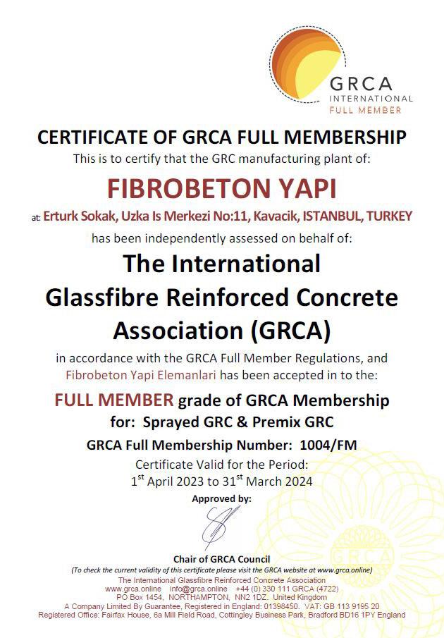 fibrobeton sertificate
